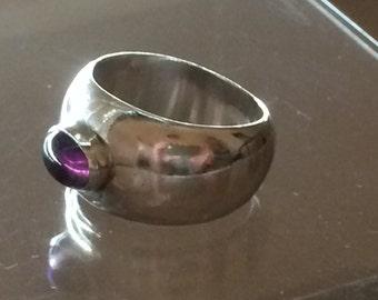Vintage Sterling Silver .925 Amethyst Modernist Minimalist Ring sz 8