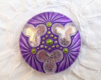 Large Hand Painted Czech Glass Button - Purple with Green and Gold Highlights - 36 mm - (1 1/2 Inch)