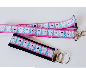Pink Dental Hygienist Lanyard or Keychain, Dental Student Graduation Gift, Gift for Dentist, Dental Office Staff Gift, Gift for Her