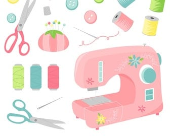 80% OFF SALE Sewing Clipart, Sewing Machine, Digital Sewing Clip Art, Thread Clipart, Printable, Commercial Use