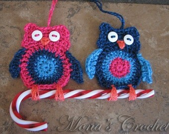 Hand Crocheted Owl Christmas Ornament Set   Pink and Blue Owls   Holiday Ornaments   Christmas Decorations   Candy Cane Holder - Set of 2