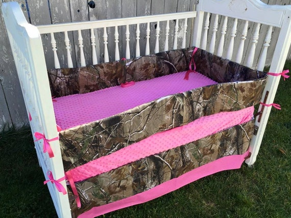 real tree camo pink crib bedding pink and by sewsweetbabydesigns
