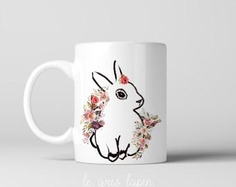 Bunny Rabbit Coffee Mug, Bunny Mug, Rabbit Mug, Valentine's day Mug, Cute Mug, Gift for her, Gift for mom