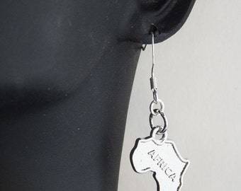 Africa Map Earrings Silver Africa Shape Jewelry African Jewelry Africa Map Afrocentric Earrings Small Africa Jewelry
