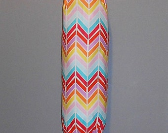 Grocery Bag Holder - Plastic Bag Holder - Bag Dispenser - Broken Chevron - Multi Color