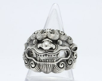 """925 Sterling Silver A ring """"Chinese lion"""" Rich and Luck Good Business.(No.30)"""