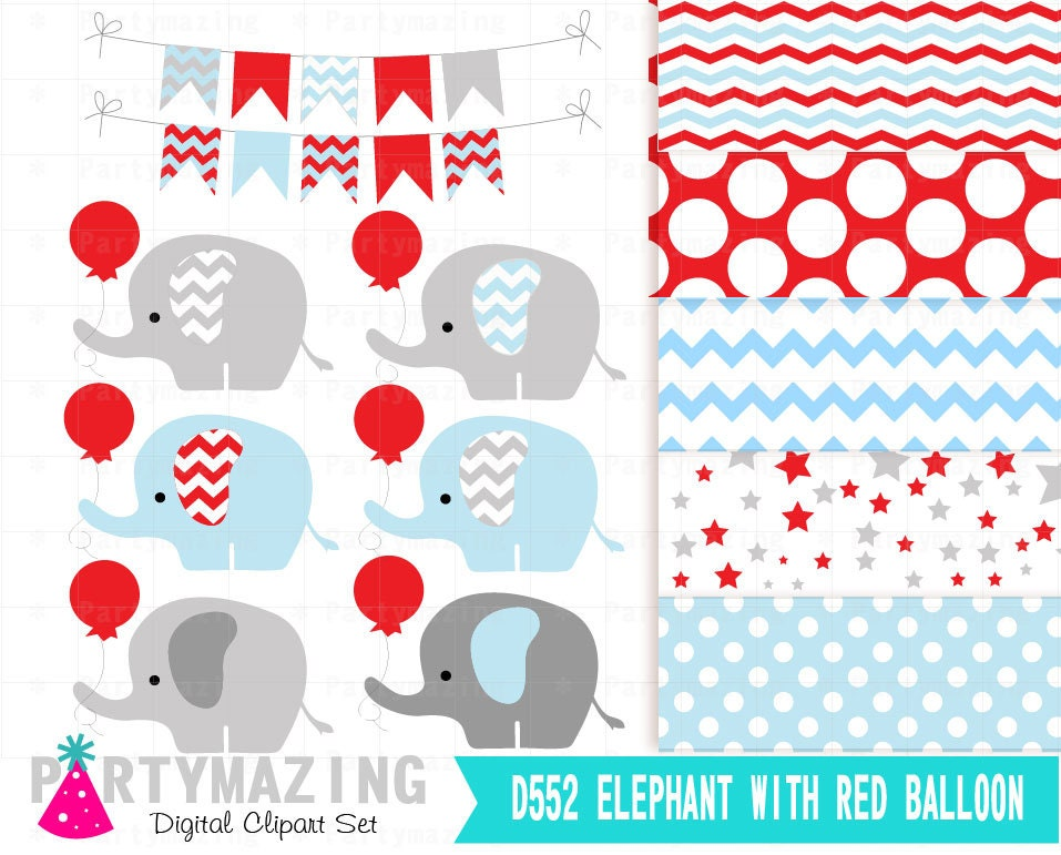 Elephant with a Red Balloon Baby Shower Inspiration by partymazing.com