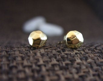 Solid 14K Gold Faceted Earrings | Handmade Polished/Textured Solid 14K Gold Earrings