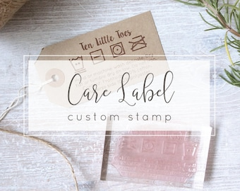 Custom Care Label Stamp - Washing Instructions for Fabric