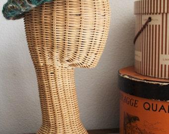 Vintage 40's 50's Sage Jade Mohair Ribbon Pillbox Hat - Sweet~!!!