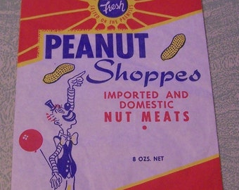 Vintage Peanut Shoppes nuts advertising bag circus clown