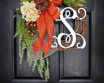 "50% OFF! 18"" Fall Grapevine Wreath with Burlap. Fall  Wreath. Autumn Wreath. Winter Wreath. Door Wreath. Monogram Wreath. Grapevine Wreath."