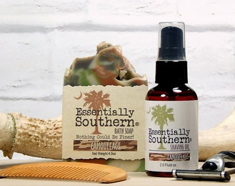 CAMOUFLAGE Shave Oil & Soap Gift, Shaving Oil, Camo Bath Soap, Beard Mustache Comb, Shaving Gift for Men, Mens Gift, Hunter Gift, Charleston