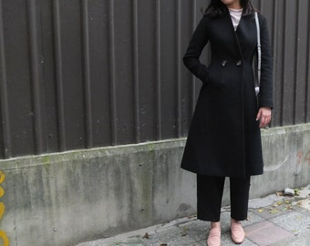 Black Italian melton wool fit-and-flare coat