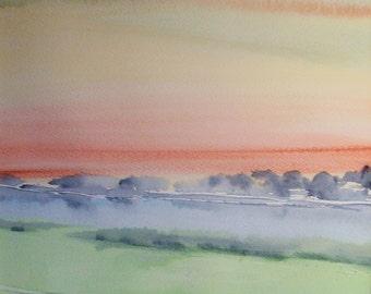 SUNSET, RIVER SEVERN, Shropshire. Original Watercolour Landscape Painting.