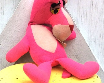 Vintage Estate 1964 Stuffed Pink Panther Toy by Mighty Star Plushie