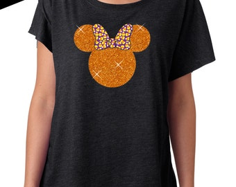 GLITTER Disney Halloween Shirt Minnie Tri Blend Dolman Tee 67-00-60 (orange glitter / candy corn bow)