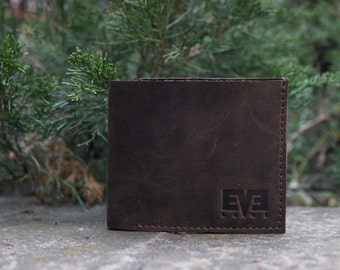 Small wallet from genuine leather, handmade wallet for men, LB1010 Brown