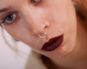Silver Septum Ring, Rose Gold Septum Jewelry, Nose Hoop, Tribal Septum, Nose Jewelry, Silver Tragus, Yellow Gold Septum, Cartilage Earring