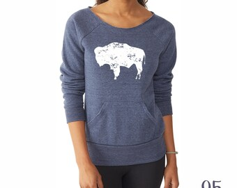 Bison Shirt. Bison Sweatshirt. Off the Shoulder. Wyoming Shirt. Buffalo Shirt.