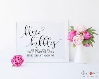 Wedding Bubbles Sign. Bubbles Send Off. Bubbles Wedding Sign. Personalized Wedding Sign. Wedding Bubbles Printable. Wedding Printables.