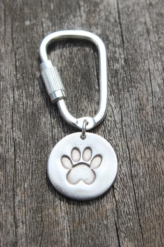 Silver Paw Cavachons: Silver Pawprint Keyring Silver Paw Print Key Chain Silver