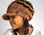 Rasta newsboy hat, rastafari crown, beanie with visor, beige brimmed rasta hat