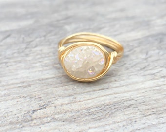 Oval WhiteDruY  Ring, Druzy Ring, Sparkle Ring, White Druzy Wire Wrapped Ring