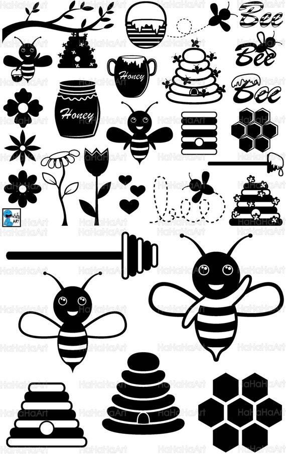 Bee Monogram Black Cutting Files Svg Png Jpg Eps Dxf Digital