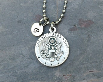 US Army Saint St Michael Necklace - Stainless Steel Ball Chain - Personalized Letter Initial Charm - Military Gift for Men Women