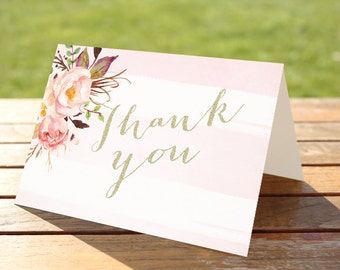 50% OFF.Watercolor Thank You Cards - floral thank you card,  INSTANT Download, blush pink cards, bridal shower thank you cards 0001