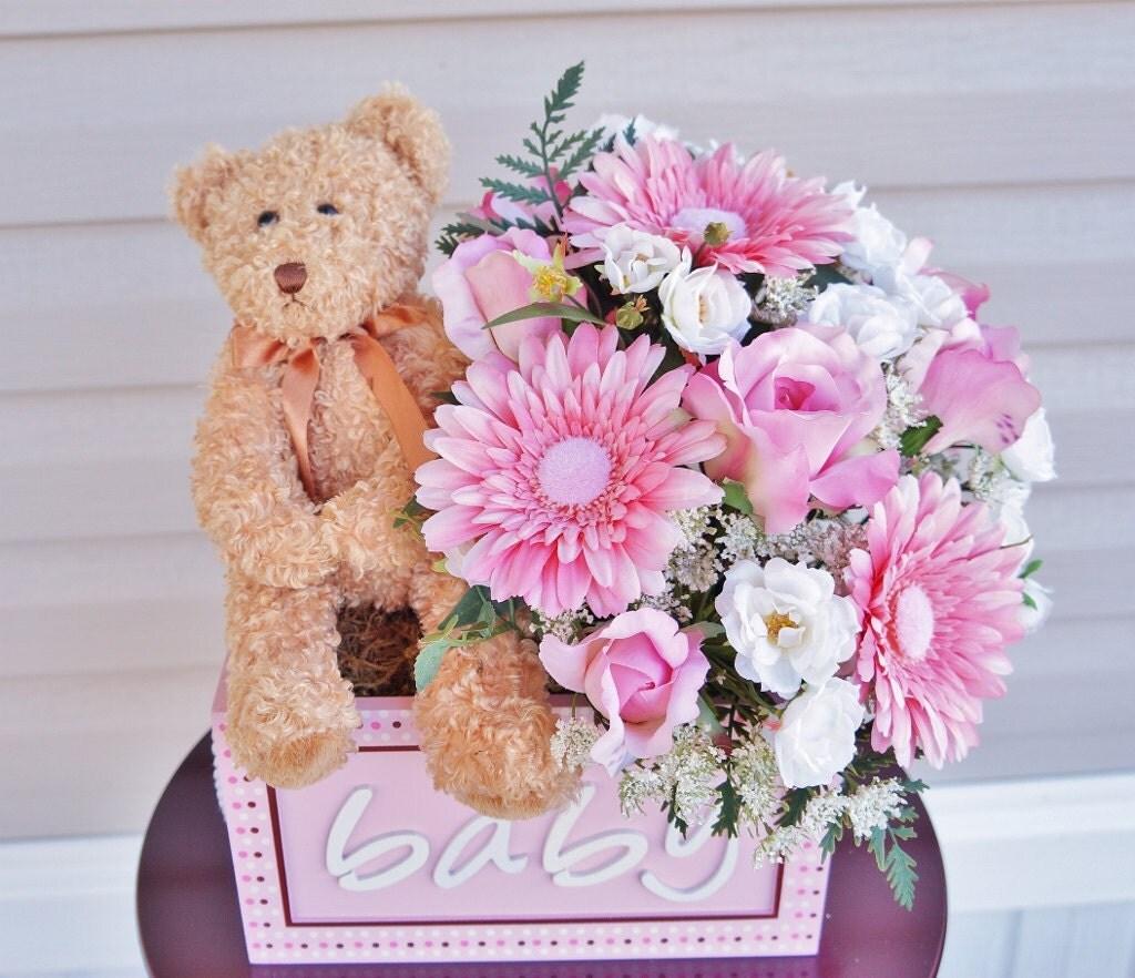 baby shower arrangement flower arrangement teddy bear its a