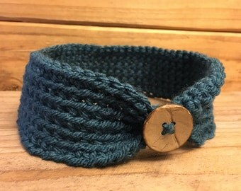 Teal Baby Headband with Natural Button
