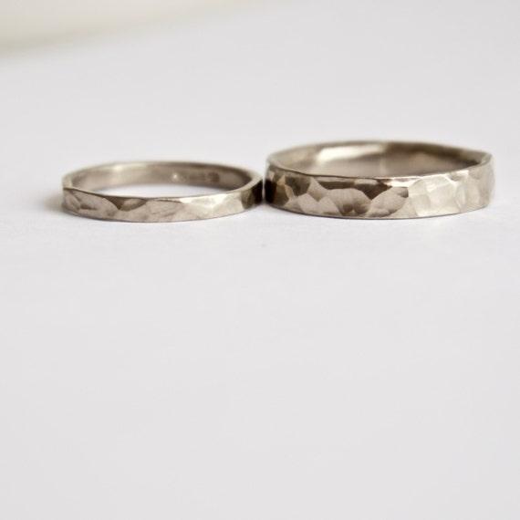 Hammered Wedding Ring Set - 18 Carat White Gold