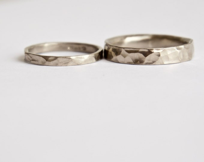 Hammered Wedding Ring Set - 18 Carat White Gold