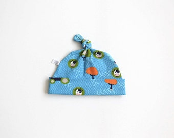 Hat with cows, trees and dots, baby knotted hat, turquoise knot hat, knotted hat, cotton baby hat, blue green orange newborn hat.