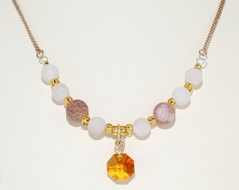 Satin finish quartz, amber crystal and gold glass bead necklace.