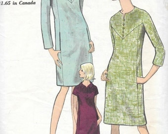 Vintage 1960s Vogue Sewing Pattern 6876- Misses' One-piece Dress size 18 bust 38