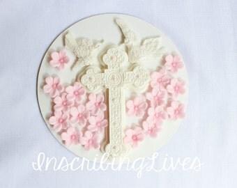 Cross Cake Topper Christening Cake Topper Edible Fondant
