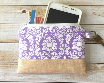 Lavender Damask Print Coin Purse, Zipper Pouch, Zip Pouch, Coin Pouch, Zipper Wallet, Keychain Wallet