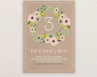 Girls Birthday Party Invitations. Floral Spring Wreath. I Customize, You Print.
