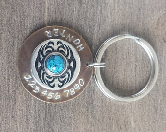 Tribal Bezel Pet ID Tag - Dog Tag - Bridle Tag - Cat Tag - Hand Stamped Natural Brass Tag
