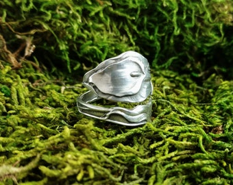 Sterling Silver Spoon Ring, Calla Lily Ring, Paye & Baker, Adjustable Bypass Ring