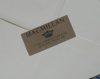 Custom Address Labels Return Address Stickers Return Address Label Envelope Seals Printed Address Labels 24 Stickers Kraft Brown