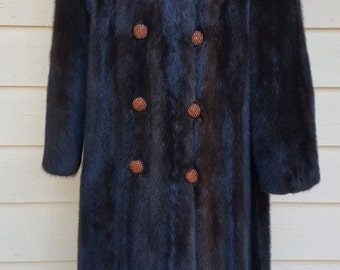 Vintage Long Natural Dark Brown Ranch Mink Fur Coat Rhinestone Buttons