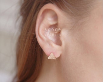 Petite Rose Gold Triangle Earrings