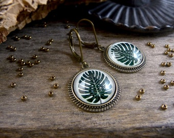 Monstera leaf earrings, Tropical earrings, Tropical leaf jewelry, Exotic leaves earrings, Gifts for her, Dark green leaf dangles TJ 072