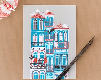 Postcard Seaside Town - cute illustration of houses in Portugal. Great for souvenirs and postcrossing. In red, blue, black and grey