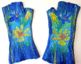 Felted mittens fingerless  gloves Flowers mittens Nuno felted mittens Arm warmers Hand painted mittens Merino wool blue mittens crocuses