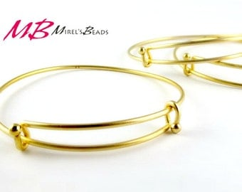 Matte Gold Plated Adjustable Bangle with Ball End, Bangle Bracelet